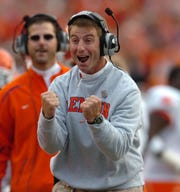 Clemson interim head coach Dabo Swinney reacts after quarterback Cullen Harper (10) scored on a 3 yard run during the 1st quarter against Boston College Saturday, Nov. 1st, 2008 at Alumni Stadium in Chestnut Hill, Mass.