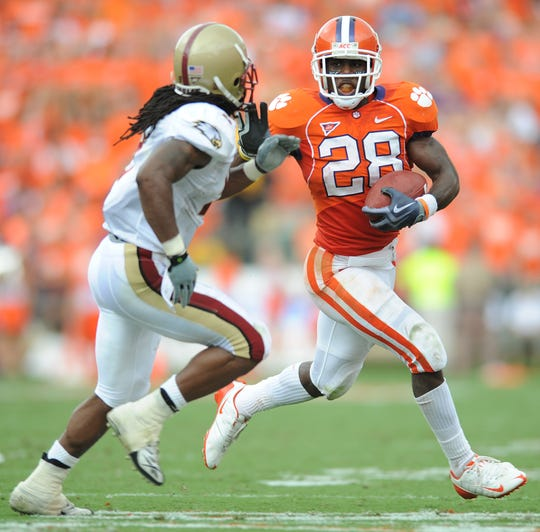 Clemson running back C.J. Spiller (28) carries against Boston College during the 2nd quarter Saturday, September 19, 2009 at Clemson's Memorial Stadium.