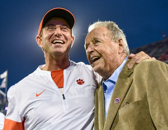 Clemson Head Coach Dabo Swinney and former Florida State head coach Bobby Bowden before the game at Memorial Stadium with Boston College in Clemson, South Carolina Saturday, October 26, 2019.