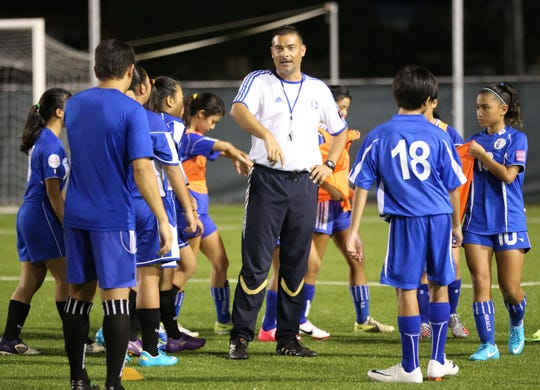 "Duane Pahl organizes a training session with youth national players during an AFC ""C"" Coaching Certificate Course at the Guam Football Association National Training Center in this file photo."