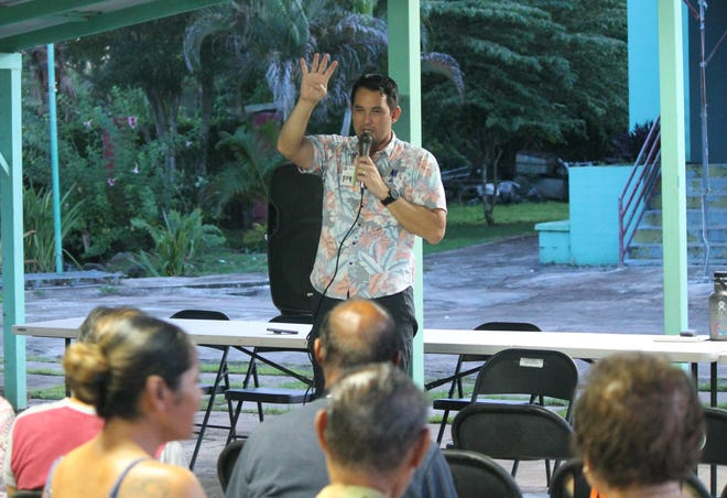 "CHamoru Land Trust Executive Director Jack Hattig III on Oct. 25, 2019, addresses a gathering of Land Trust constituents during the Land Trust's first ""listening session"" at the Sagan Bisita in Agat."