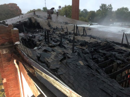 This photo shows what's left of the Weaverton School building roof after a fire broke out Friday night or early Saturday morning.