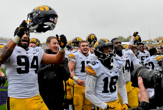 After a 20-0 win, Iowa players took time to acknowledge the Hawkeyes' fans that made their way to rainy Ryan Field on Saturday.