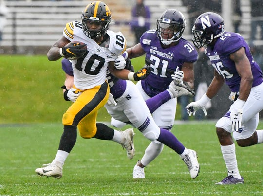 Running back Mekhi Sargent is Iowa's leading rusher, at 443 yards through eight games, in what will continue to be a by-committee approach down the stretch. Sargent rushed for 745 a season ago.