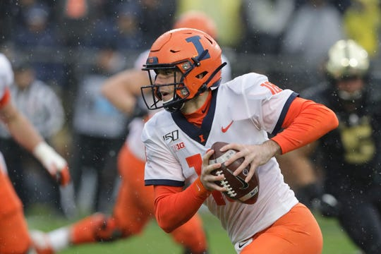 Illinois quarterback Brandon Peters (18) runs during the first half of an NCAA college football game against the Purdue, Saturday, Oct. 26, 2019, in West Lafayette, Ind. (AP Photo/Darron Cummings)