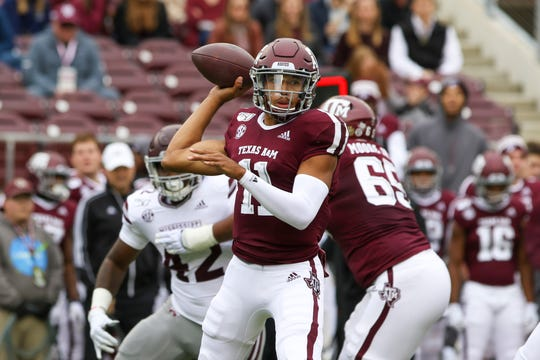 Oct 26, 2019; College Station, TX, USA; Texas A&M Aggies quarterback Kellen Mond (11) sets up to throw during the first quarter against the Mississippi State Bulldogs at Kyle Field. Mandatory Credit: John Glaser-USA TODAY Sports