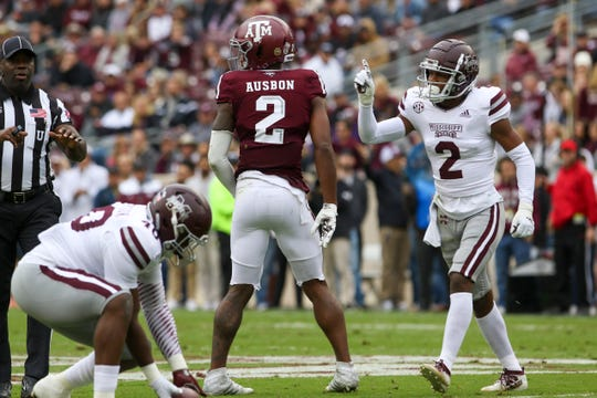 Oct 26, 2019; College Station, TX, USA; Mississippi State Bulldogs cornerback Jarrian Jones (2) reacts after Texas A&M Aggies wide receiver Jhamon Ausbon (2) fails to catch a pass during the first quarter at Kyle Field. Mandatory Credit: John Glaser-USA TODAY Sports