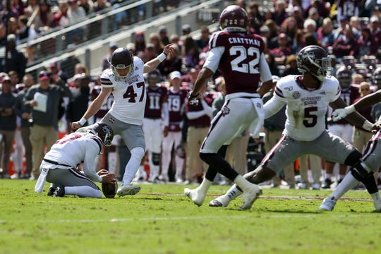Oct 26, 2019; College Station, TX, USA; Mississippi State Bulldogs place kicker Jace Christmann (47) kicks a field goal during the second quarter against the Texas A&M Aggies at Kyle Field. Mandatory Credit: John Glaser-USA TODAY Sports