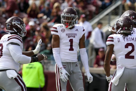 Oct 26, 2019; College Station, TX, USA; Mississippi State Bulldogs wide receiver Stephen Guidry (1) celebrates after catching a touchdown pass during the second quarter against the Texas A&M Aggies at Kyle Field. Mandatory Credit: John Glaser-USA TODAY Sports