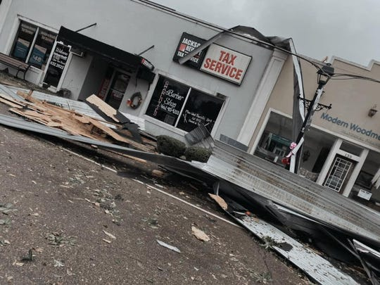 Businesses on Highway 64 in Adamsville suffered extensive damage in Saturday's storms that moved through Tennessee.