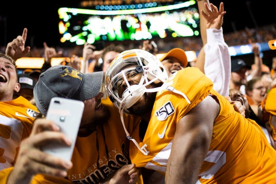 Tennessee wide receiver Jauan Jennings (15) celebrates Tennessee's 41-21 win over South Carolina at Neyland Stadium in Knoxville, Tennessee on Saturday, October 26, 2019.