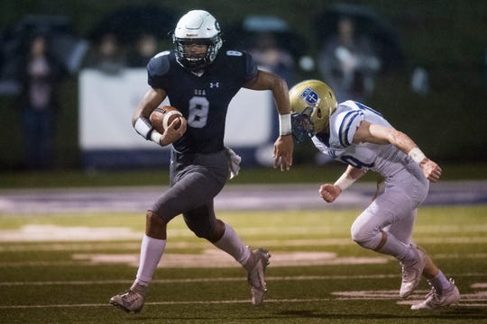 Grace Christian's Jalen Geer (8) runs the ball during a game between CAK and Grace Christian at Grace Christian, Friday, Oct. 25, 2019.