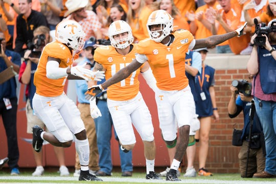 Tennessee wide receiver Marquez Callaway (1) celebrates a touchdown during a game between Tennessee and South Carolina at Neyland Stadium, Saturday, Oct. 26, 2019.