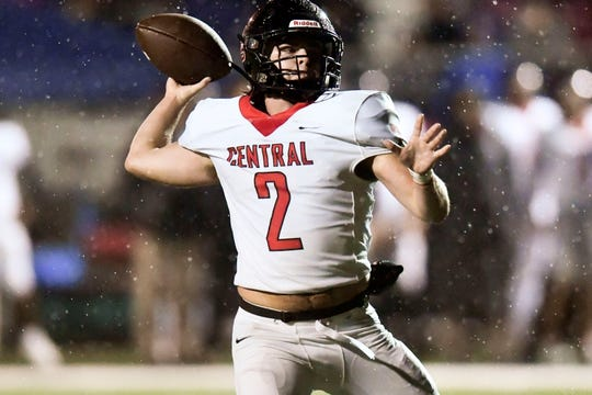 Central's Dakota Fawver (2) passes during the game against South-Doyle on Friday, October 25, 2019