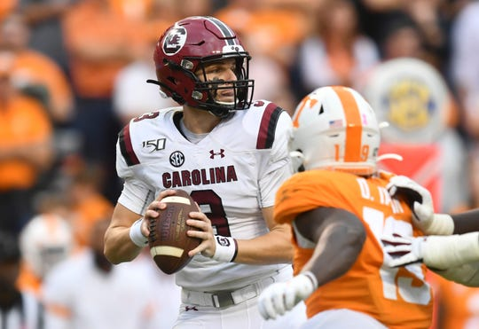 South Carolina quarterback Ryan Hilinski (3) looks to pass during a game between Tennessee and South Carolina at Neyland Stadium, Saturday, Oct. 26, 2019.
