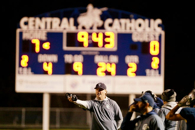 Central Catholic head coach Brian Nay reacts from the sideline during the second quarter of an IHSAA football game, Friday, Oct. 25, 2019 in Lafayette. Central Catholic won, 40-6.