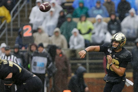 Purdue quarterback Aidan O'Connell (16) throws during the second quarter of a NCAA football game, Saturday, Oct. 26, 2019 at Ross-Ade Stadium in West Lafayette.