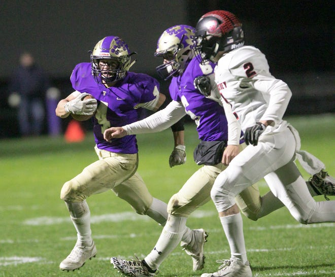 Fowlerville, led by all-stater Kaleb Chappell (4), is scheduled to travel to Pinckney on the final night of the 2020 football regular season on Oct. 23.