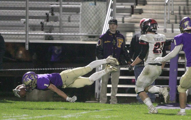 Ryan Dixon (1) and his Fowlerville teammates will travel to Pinckney to take on Hunter Hendricks (27) and the Pirates Friday night.