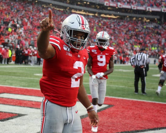 Ohio State tailback J.K. Dobbins had a huge day against Wisconsin and after this touchdown run might be indicating where his Buckeyes should be ranked in the national polls.