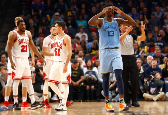 Memphis Grizzlies forward Jaren Jackson Jr. is called for his third foul in the first half of their game against the Chicago Bulls for the home opener at the FedExForum on Friday, Oct. 25, 2019.