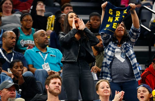 Memphis Grizzlies fans cheer on their team as they play the Chicago Bulls during the home opener at the FedExForum on Friday, Oct. 25, 2019.
