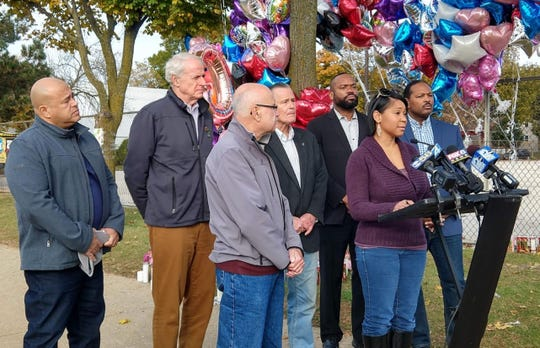 Alderman Nikiya Dodd speaks Saturday at a news conference with other members of the Common Council and Mayor Tom Barrett after this week's hit-and-run that killed a 6-year-old girl. They appeared at North 22nd Street and West Center Street, the scene of the crash.