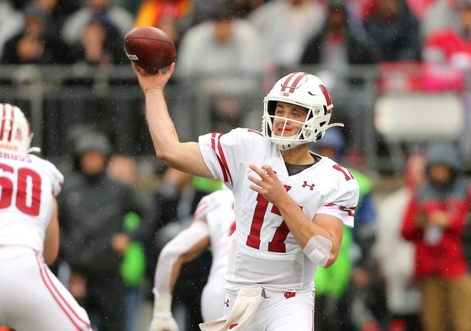 Wisconsin Badgers quarterback Jack Coan drops back to throw during the first quarter against the Ohio State Buckeyes at Ohio Stadium.