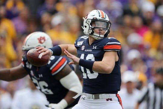 Auburn quarterback Bo Nix looks to throw against LSU on Saturday, Oct. 26, 2019, in Baton Rouge, LA.