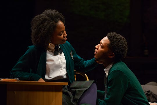 "Toree Alexandre and Jay Wade in a scene from ASF's production of ""Pipeline."""