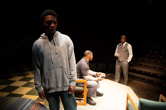 "Jay Wade, Brian Nelson and Ethan Henry in a scene from ASF's production of ""Pipeline."""