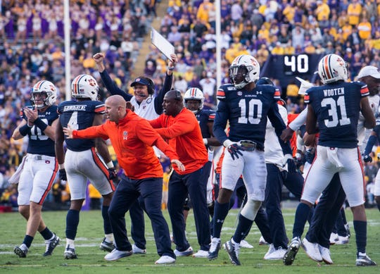 Auburn's sideline reacts after a goal line stand from their defense at Tiger Stadium in Baton Rouge, La., on Saturday, Oct. 26, 2019. LSU defeated Auburn 23-20.