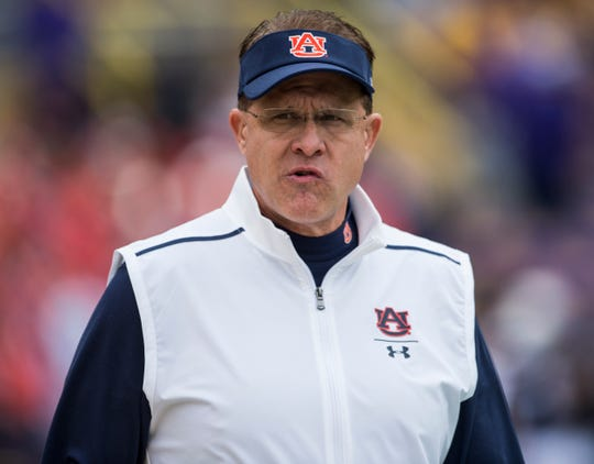 Auburn head coach Gus Malzahn during warm ups at Tiger Stadium in Baton Rouge, La., on Saturday, Oct. 26, 2019.