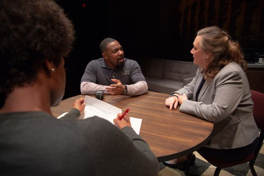 "Brian Nelson and Barbara Figgins in a scene from ASF's production of ""Pipeline."""
