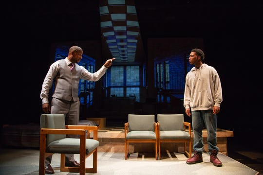 "Ethan Henry and Jay Wade in a scene from ASF's production of ""Pipeline."""
