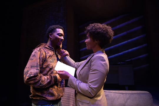 "Jay Wade and Eunice Woods in a scene from ASF's production of ""Pipeline."""