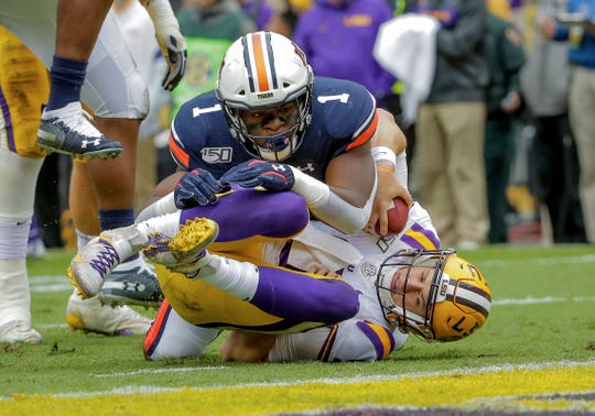 Auburn defensive end Big Kat Bryant sacks LSU quarterback Joe Burrow on Oct. 2016, 2019, in Baton Rouge, LA.