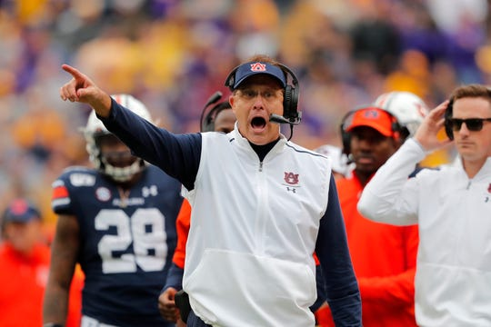 Auburn head coach Gus Malzahn calls out from the sideline against LSU in Baton Rouge, La., Saturday, Oct. 26, 2019.