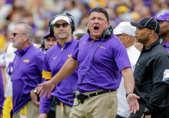 Oct 26, 2019; Baton Rouge, LA, USA; LSU Tigers head coach Ed Orgeron argues a penalty during the first quarter against the Auburn Tigers at Tiger Stadium. Mandatory Credit: Derick E. Hingle-USA TODAY Sports