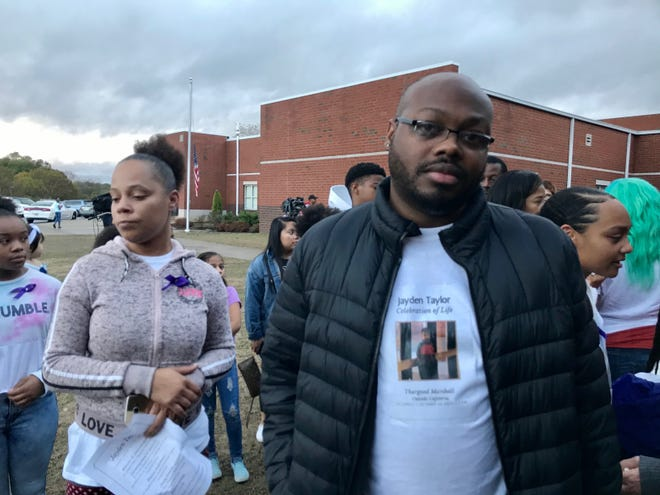 Lewis Taylor, the father of 13-year-old Jayden Taylor killed in a stabbing, attended a celebration of life service Saturday, Oct. 26, 2019, at Thurgood Marshall Middle School.