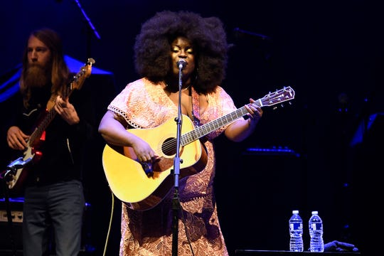Yola performs before the Kacey Musgraves concert at Bridgestone Arena on Oct. 25, 2019, in Nashville.