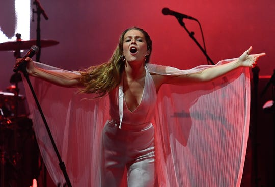 Maggie Rogers performs before the Kacey Musgraves concert at Bridgestone Arena Friday, Oct. 25, 2019 in Nashville, Tenn.