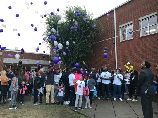 Students, teachers, family and friends of Jayden Taylor released balloons Saturday, Oct. 26, 2019, in his memory.