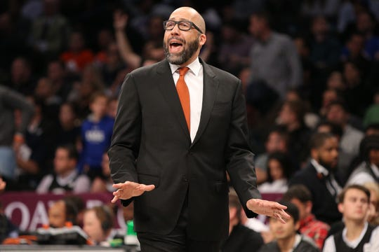 Oct 25, 2019; Brooklyn, NY, USA; New York Knicks head coach David Fizdale coaches against the Brooklyn Nets during the first quarter at Barclays Center.