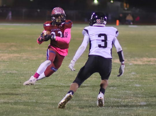 Senior Ceazer Chavez found plenty of wide-open space during Deming's 52-7 victory over the Chaparral High Lobos.