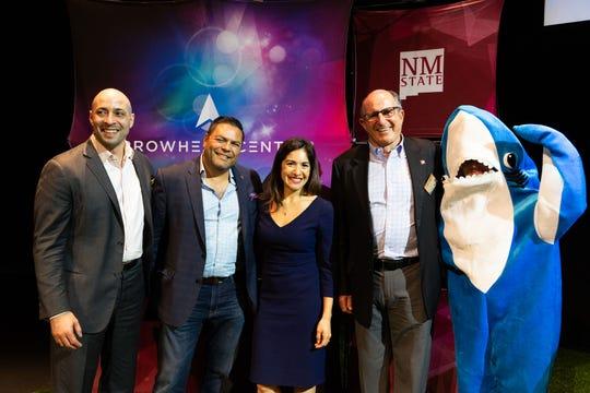 The 2019 Aggie Shark Tank sharks were, from left, Jason Torres, a healthcare angel investor; Beto Pallares, fund manager of Arrowhead Innovation Fund; Samara Mejia Hernandez, founding partner of Chingona Ventures; and Lou Sisbarro, cofounder of Sisbarro Dealerships.