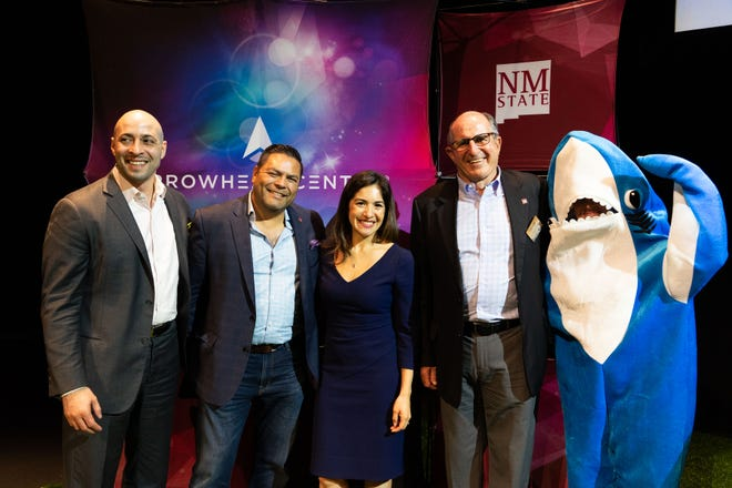 The 2019 Aggie Shark Tank sharks were, from left, Jason Torres, a healthcare angel investor; Beto Pallares, fund manager of Arrowhead Innovation Fund; Samara Mejia Hernandez, founding partner of Chingona Ventures; and Lou Sisbarro, cofounder of Sisbarro Dealerships.