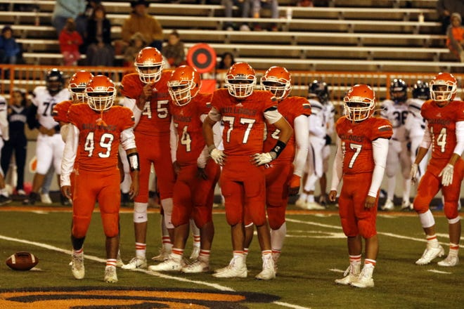 Artesia's defense looks to the sideline for the next play call against Goddard on Oct. 25, 2019. Artesia ends its regular season against Alamogordo.