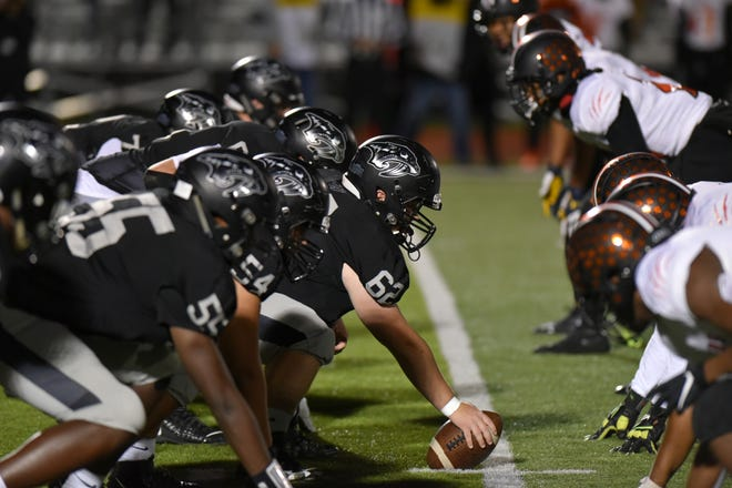 The Plymouth offense prepares to snap the ball against Belleville.