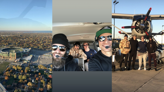 Packers tight end Jimmy Graham takes teammates Jake Kumerow, Robert Tonyan and Tim Boyle for a flight over Lambeau Field.
